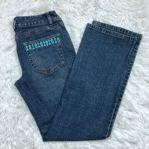 Loft Turquoise Beaded Bootcut Jeans Aztec Boho